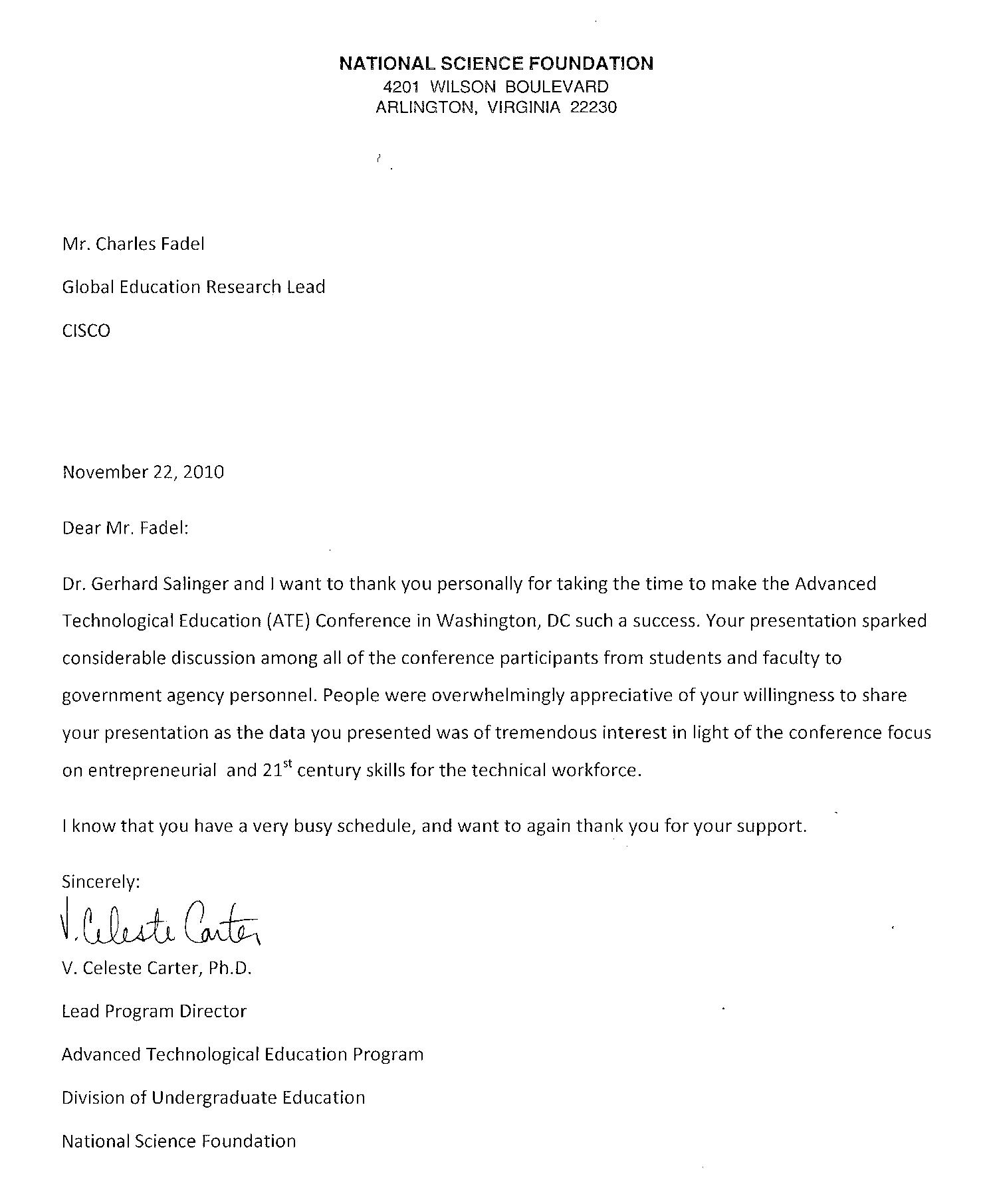 Thank You Letter National Science Foundation 21st Century Skills